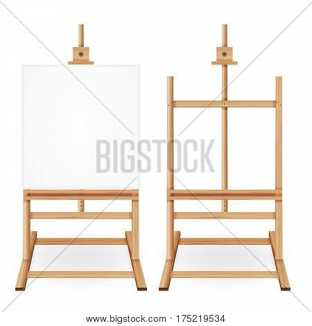 Paint Desk Vector. Wooden Easel With Empty White Paper. Isolated On White Background. Realistic Painter Desk. Drawing Whiteboard