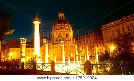 Le Domus Romane di Palazzo Valentini, buildings in front of the Altar of the Fatherland, Roma, Italy.