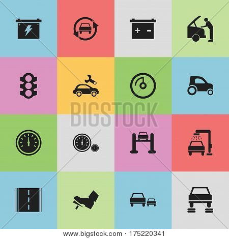 Set Of 16 Editable Transport Icons. Includes Symbols Such As Car Fixing, Stoplight, Auto Repair And More. Can Be Used For Web, Mobile, UI And Infographic Design.