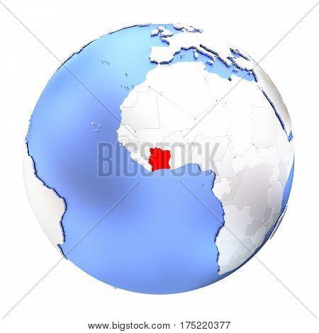 Ivory Coast On Metallic Globe Isolated