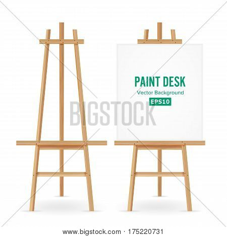 Paint Desk Vector. Artist Easel Set With White Paper. Isolated On White Background. Realistic Painter Desk Blank Canvas On Easel.