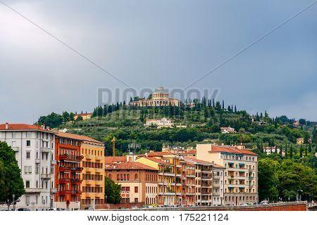 Sanctuary of the Madonna of Lourdes on San Leonardo hill, Verona, italy.