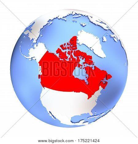Canada On Metallic Globe Isolated