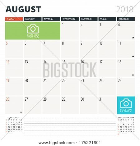 Calendar Planner For August 2018. Design Template. Week Starts On Sunday. 3 Months On The Page. Phas