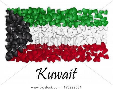 Flag Love Kuwait. Flag Heart Glossy. With love from Kuwait. Made in Kuwait. Kuwait national independence day. Sport team flag.
