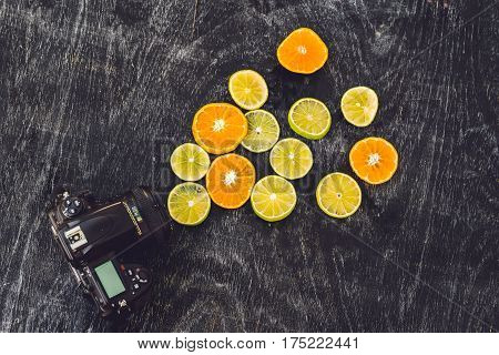 Citrus Fruit Background With Sliced Oranges Lemons Lime Tangerines As A Symbol Of Healthy Eating And