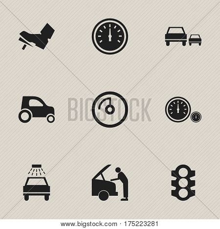 Set Of 9 Editable Transport Icons. Includes Symbols Such As Car Lave, Speedometer, Speed Display And More. Can Be Used For Web, Mobile, UI And Infographic Design.