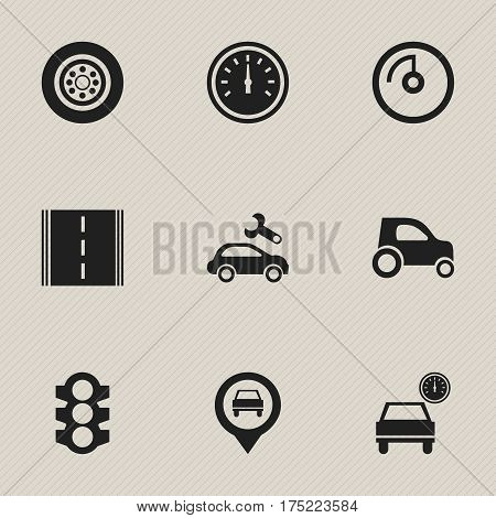 Set Of 9 Editable Vehicle Icons. Includes Symbols Such As Speed Control, Speed Display, Stoplight And More. Can Be Used For Web, Mobile, UI And Infographic Design.