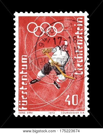 LIECHTENSTEIN - CIRCA 1972 : Cancelled postage stamp printed by Liechtenstein, that shows Hockey.
