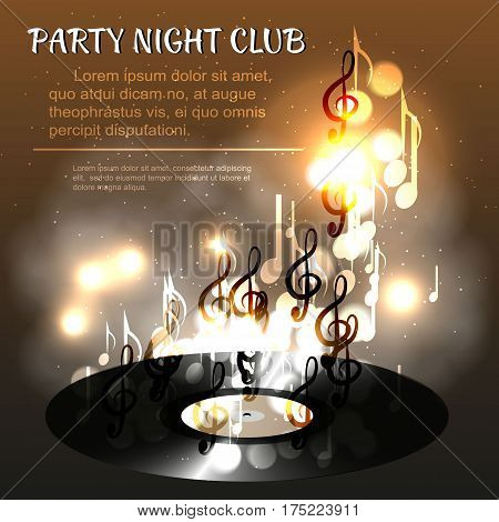 Realistic vinyl record, against departing from her notes, bokeh and smoke. Discos, parties and club poster, dance or music poster