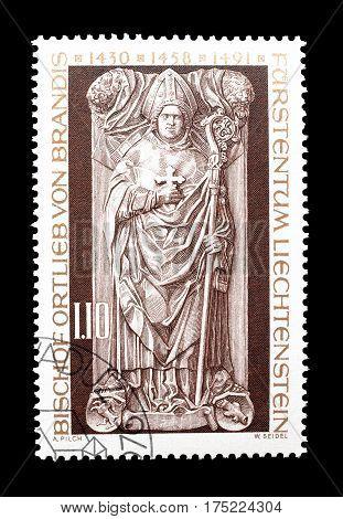 LIECHTENSTEIN - CIRCA 1976 : Cancelled postage stamp printed by Liechtenstein, that shows Sculpture.