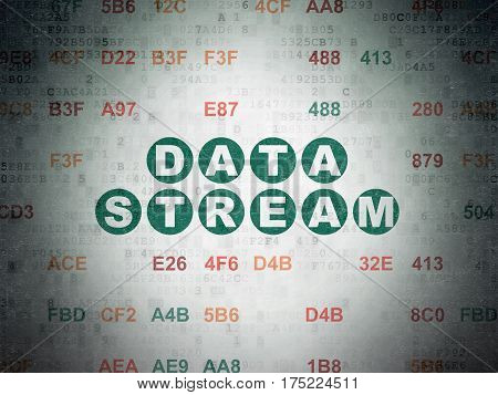 Data concept: Painted green text Data Stream on Digital Data Paper background with Hexadecimal Code
