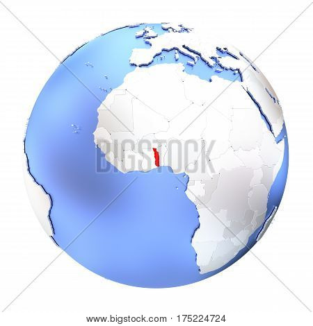 Togo On Metallic Globe Isolated