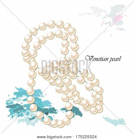 Vector illustration background or post card with venetian pearl