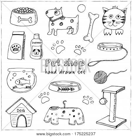 Hand drawn doodle Pets stuff and supply icons set. Vector illustration. Vet symbol collection. Cartoon dogs and cats care elements: leash, food, paw, bowl, bone and other goods for pet shop