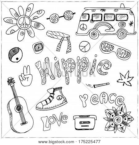 hand drawn Doodle cartoon set of hippie objects and symbols Vector illustration