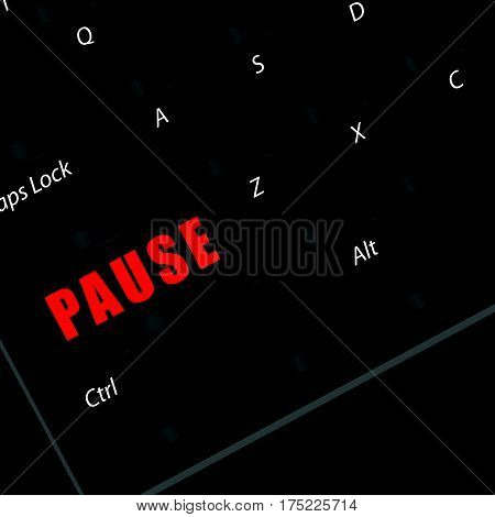 Computer Keyboard Part With Pause In Red Color Illustration