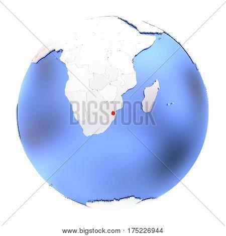 Swaziland On Metallic Globe Isolated