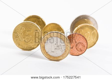 Group Of Euro Coins Standing Standout One Euro Front Collection Currency European Eu Union Business