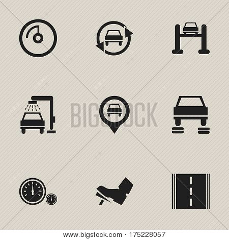 Set Of 9 Editable Vehicle Icons. Includes Symbols Such As Speedometer, Auto Repair, Treadle And More. Can Be Used For Web, Mobile, UI And Infographic Design.