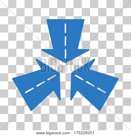 Merge Directions icon. Vector illustration style is flat iconic symbol, smooth blue color, transparent background. Designed for web and software interfaces.