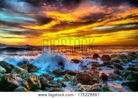sunset on the sea near Rethymnon cyprus