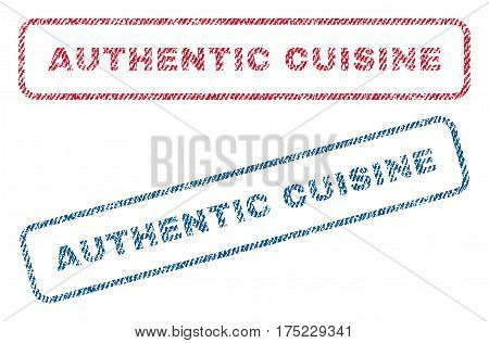 Authentic Cuisine text textile seal stamp watermarks. Blue red fabric vectorized texture. Vector caption inside rounded rectangular shape. Rubber sign with fiber textile structure.