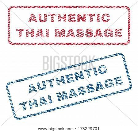 Authentic Thai Massage text textile seal stamp watermarks. Blue red fabric vectorized texture. Vector tag inside rounded rectangular shape. Rubber sticker with fiber textile structure.