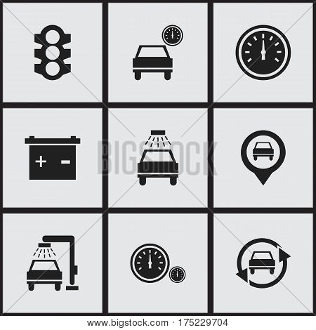 Set Of 9 Editable Vehicle Icons. Includes Symbols Such As Speed Control, Stoplight, Vehicle Wash And More. Can Be Used For Web, Mobile, UI And Infographic Design.
