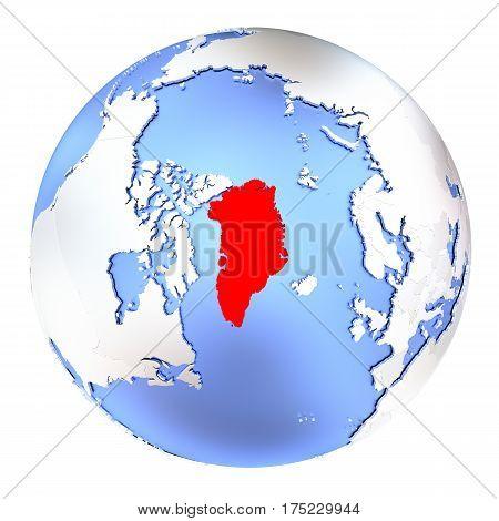 Greenland On Metallic Globe Isolated