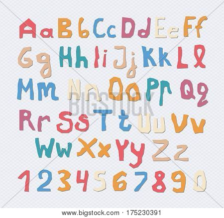 Set of colorful capital, lowercase letters alphabet with numbers and shadow on squared gray background.