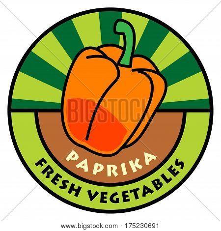 Vegetables color label or sign, paprika, vector illustration