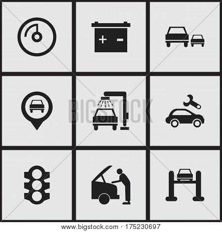 Set Of 9 Editable Transport Icons. Includes Symbols Such As Pointer, Automotive Fix, Stoplight And More. Can Be Used For Web, Mobile, UI And Infographic Design.