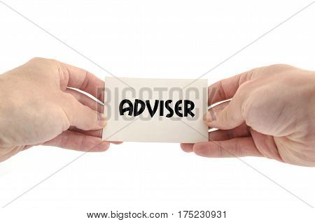 Adviser text concept isolated over white background