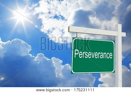 Perseverance. Road Sign With Clouds And Sky