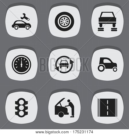 Set Of 9 Editable Car Icons. Includes Symbols Such As Stoplight, Vehicle Car, Car Fixing And More. Can Be Used For Web, Mobile, UI And Infographic Design.