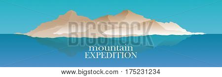 Mountaineering and Traveling Vector Illustration. Landscape with Mountain Peaks and water. Extreme Sports, Vacation camping and Outdoor Recreation Concept. Mountains expedition