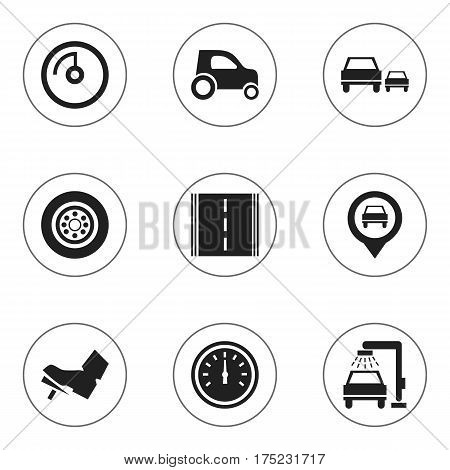 Set Of 9 Editable Transport Icons. Includes Symbols Such As Treadle, Pointer, Race And More. Can Be Used For Web, Mobile, UI And Infographic Design.