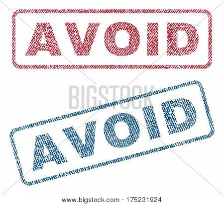 Avoid text textile seal stamp watermarks. Blue red fabric vectorized texture. Vector tag inside rounded rectangular banner. Rubber sign with fiber textile structure.