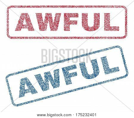 Awful text textile seal stamp watermarks. Blue red fabric vectorized texture. Vector caption inside rounded rectangular banner. Rubber sign with fiber textile structure.