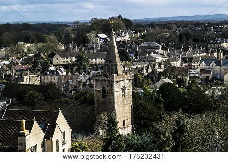Aerial view in Bradford on avon.Church in the center.