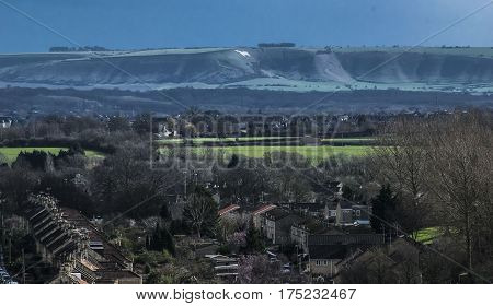Landscape.Aerial view on the Bradford in Avon and White horse hill in England.