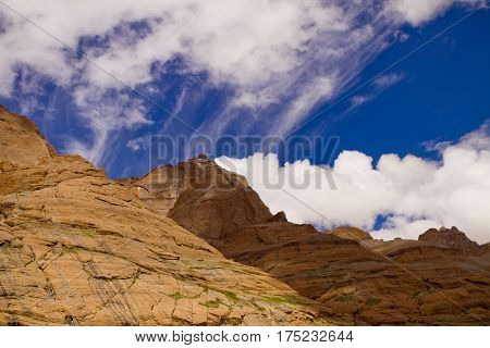 Tibet Sky with clouds and Mount in Himalayas range