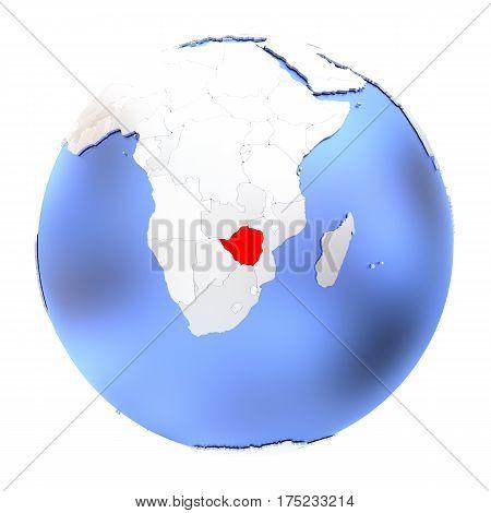 Zimbabwe On Metallic Globe Isolated