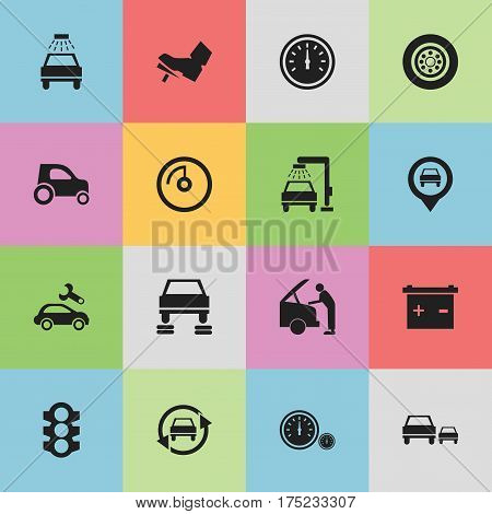 Set Of 16 Editable Vehicle Icons. Includes Symbols Such As Tuning Auto, Treadle, Speed Display And More. Can Be Used For Web, Mobile, UI And Infographic Design.