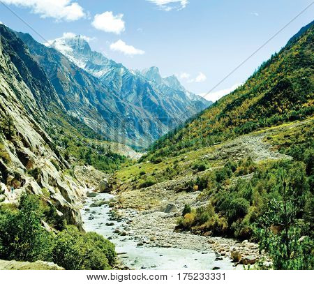 Himalyas mountain in India, valley of river Ganga