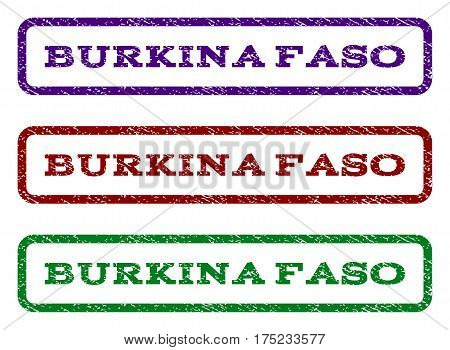 Burkina Faso watermark stamp. Text tag inside rounded rectangle with grunge design style. Vector variants are indigo blue, red, green ink colors. Rubber seal stamp with dust texture.