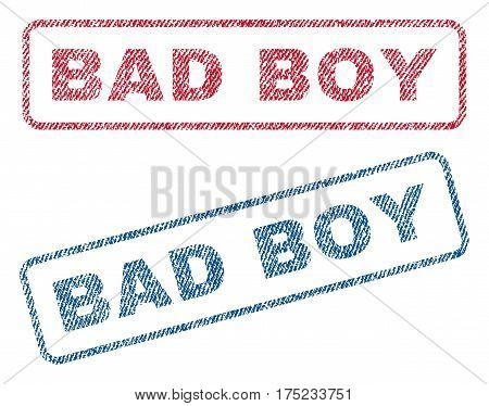 Bad Boy text textile seal stamp watermarks. Blue, red fabric vectorized texture. Vector tag inside rounded rectangular banner. Rubber sticker with fiber textile structure.