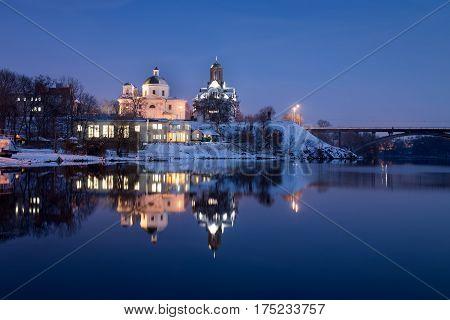 Winter evening in Bila Tserkva. Winter. catholicism. orthodox.