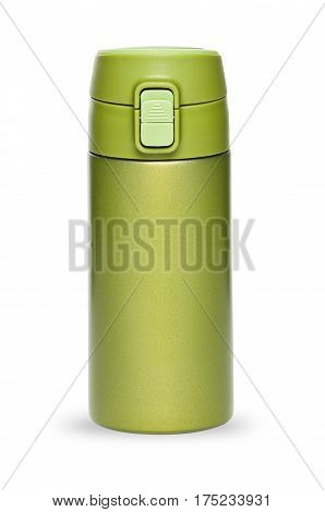 Green thermos with plastic lid and convenient spout for an active life isolated on white background